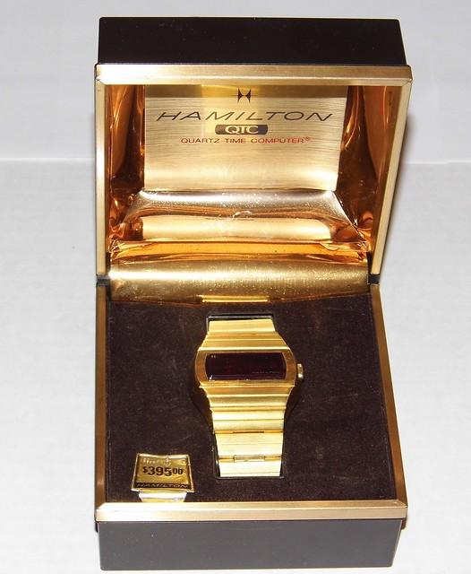 Vintage Hamilton Watch Quartz Time Computer QTC Wristwatch in Original Box