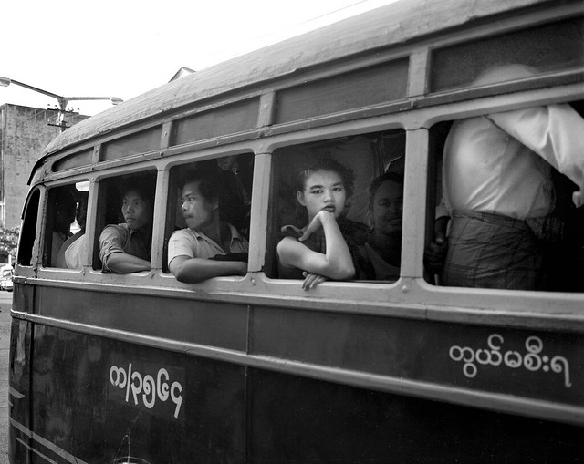 Woman on local bus, Rangoon Burma