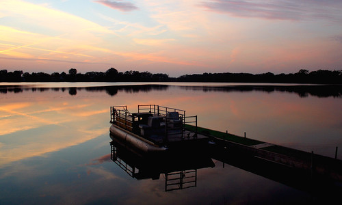 sunset sky lake color reflection nature water colors clouds landscape boat illinois dock warm waterscape drucelake