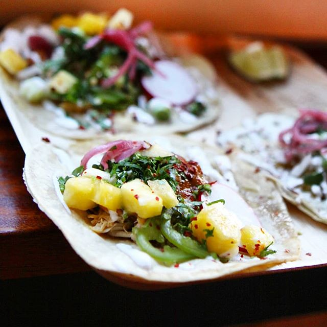 Carnitas chicken tacos with pineapple and jalapenos. Vegitarian tacos this weekend feature spaghetti squash with garlic, thyme and Oaxaca cheese.