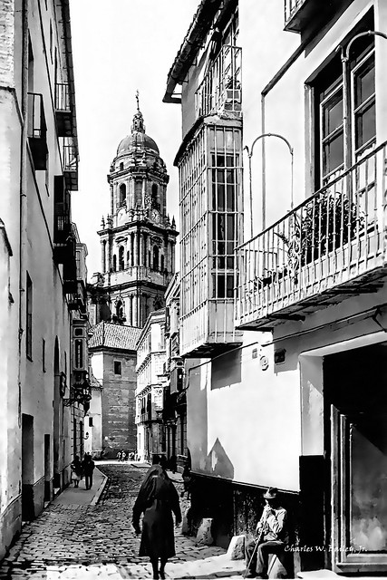 Digital Pen and Ink Drawing of a Street in Malaga by Charles W. Bailey, Jr.