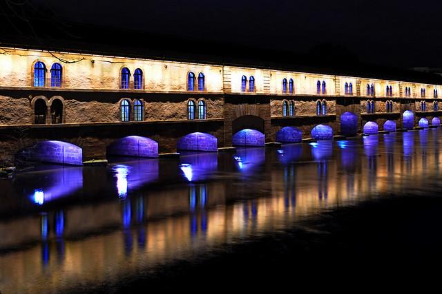 Reflections of The Barrage Vauban, or Vauban Dam , Strasbourg, France)