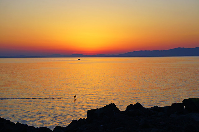 Fabulous sunset over Amur Bay, Vladivostok