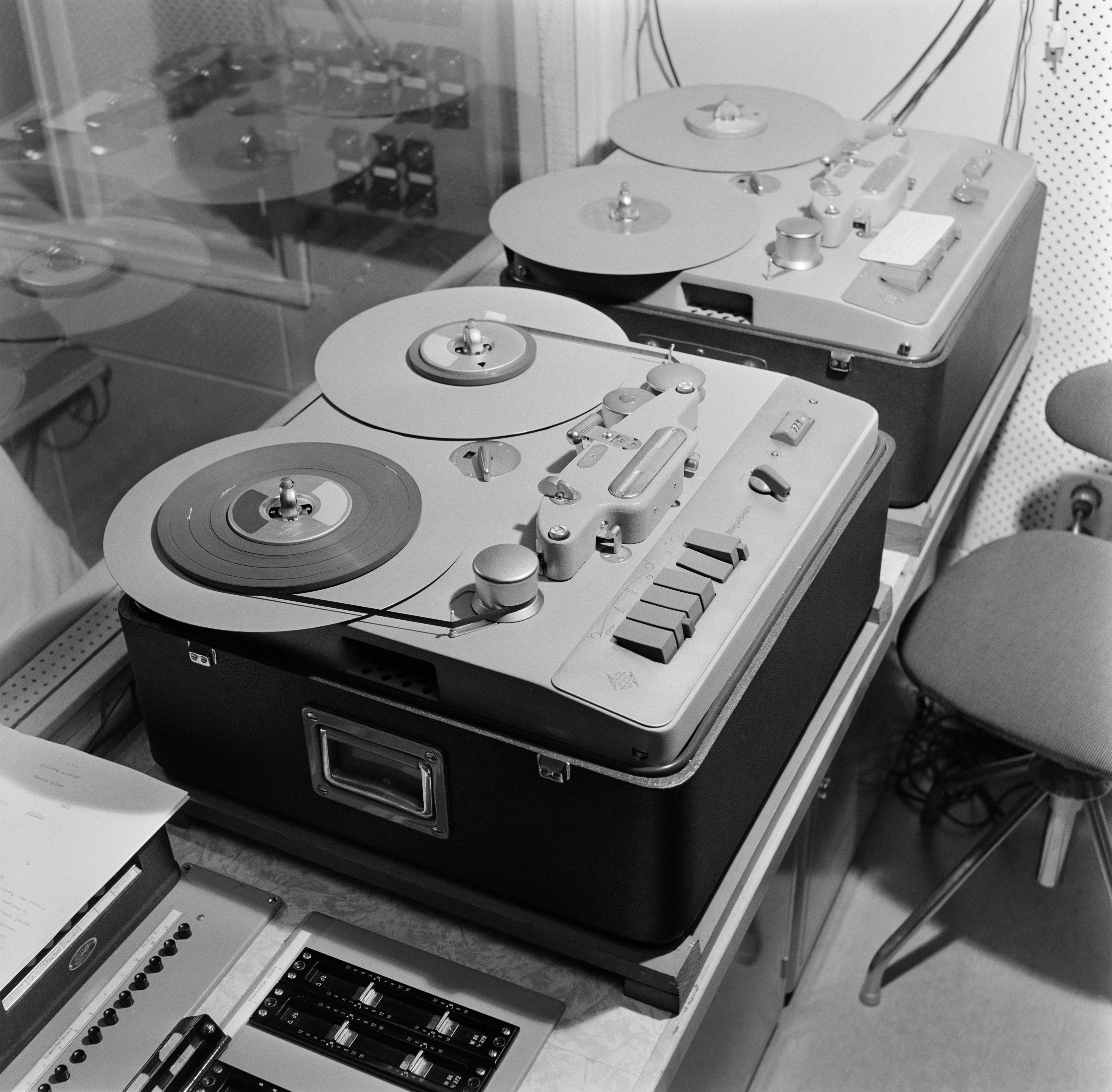 Two tape recorders (Telefunken M5) in the television studio control room, 1958