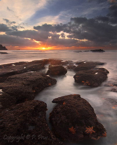 sunset sea sky copyright seascape beach clouds sunrise landscape rocks surf waves starfish westcoast greymouth motukiekie peteprue copyrightpeteprue
