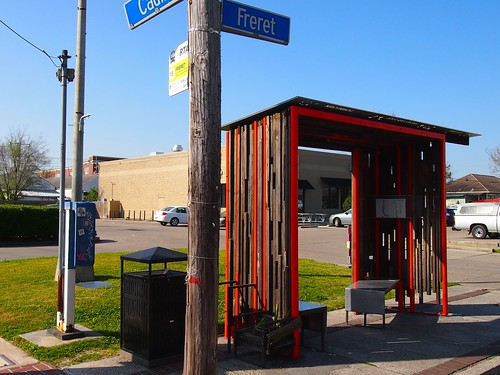 Bus stop on Freret Street. Photo by Melanie Merz.