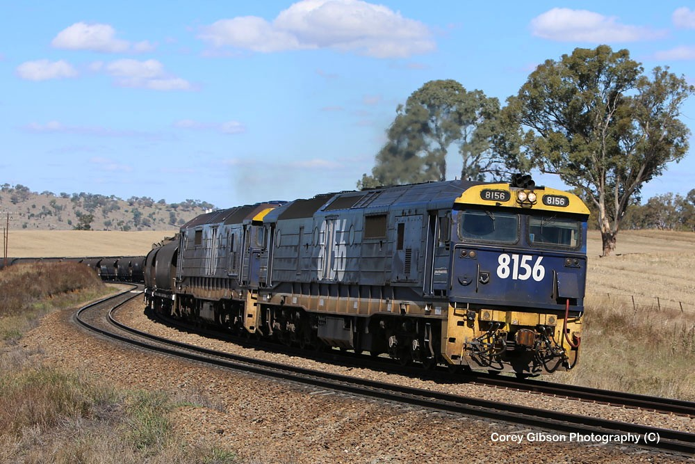 8156 & 8106 empty rake of grain wagons by Corey Gibson