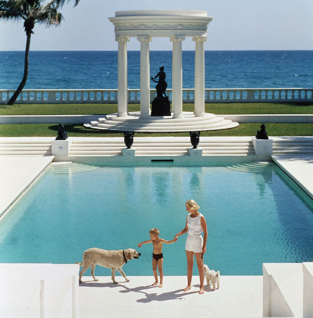 CZ Guest (Cornelia Guest's Mom) with her Son in 1955 Palm Beach, Florida - Taken by Slim Aarons