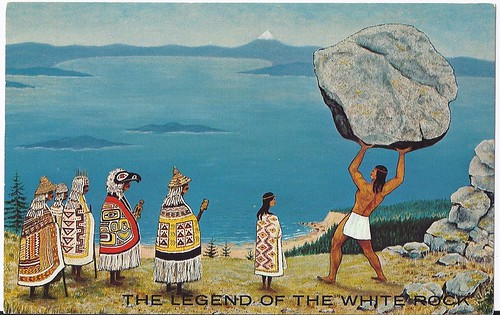 c. 1973 - Original Painting by Lorna Holcroft - Postcard - The Native Legend of the White Rock at White Rock, B.C. | by Treasures from the Past