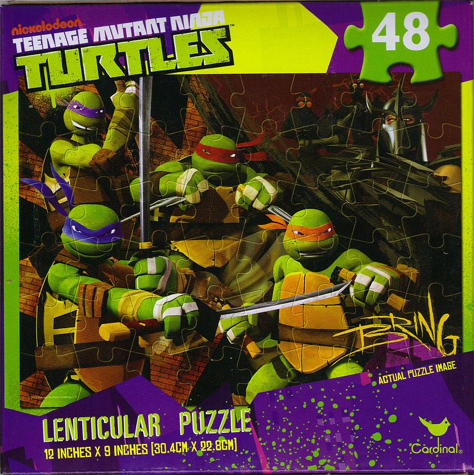 CARDINAL :: Nickelodeon TEENAGE MUTANT NINJA TURTLES - 48 Piece Lenticular Puzzle ..box ii (( 2012 )) by tOkKa