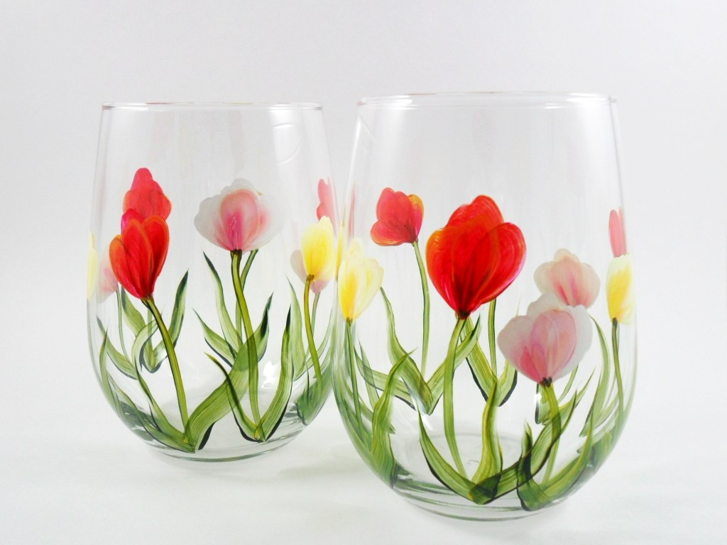 Hand-Painted FLORAL Stemless Wine Glasses SET OF 4