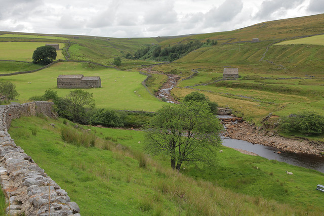 Swaledale Cumbria..Swaledale runs broadly from west to east, from the high moors on the Cumbria–Yorkshire boundary