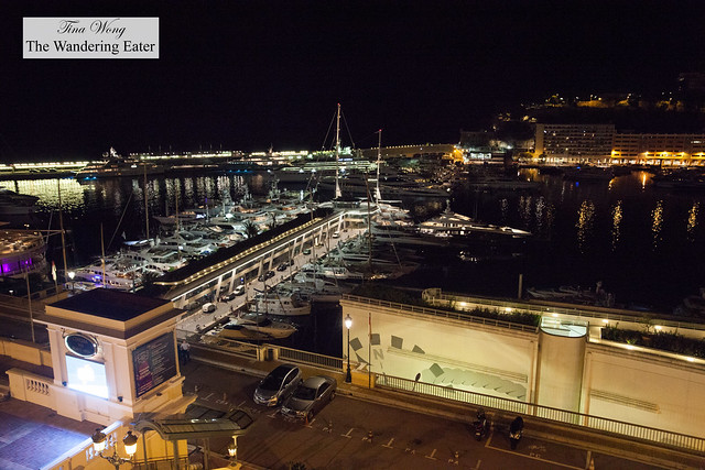 Night view of the harbor from the terrace