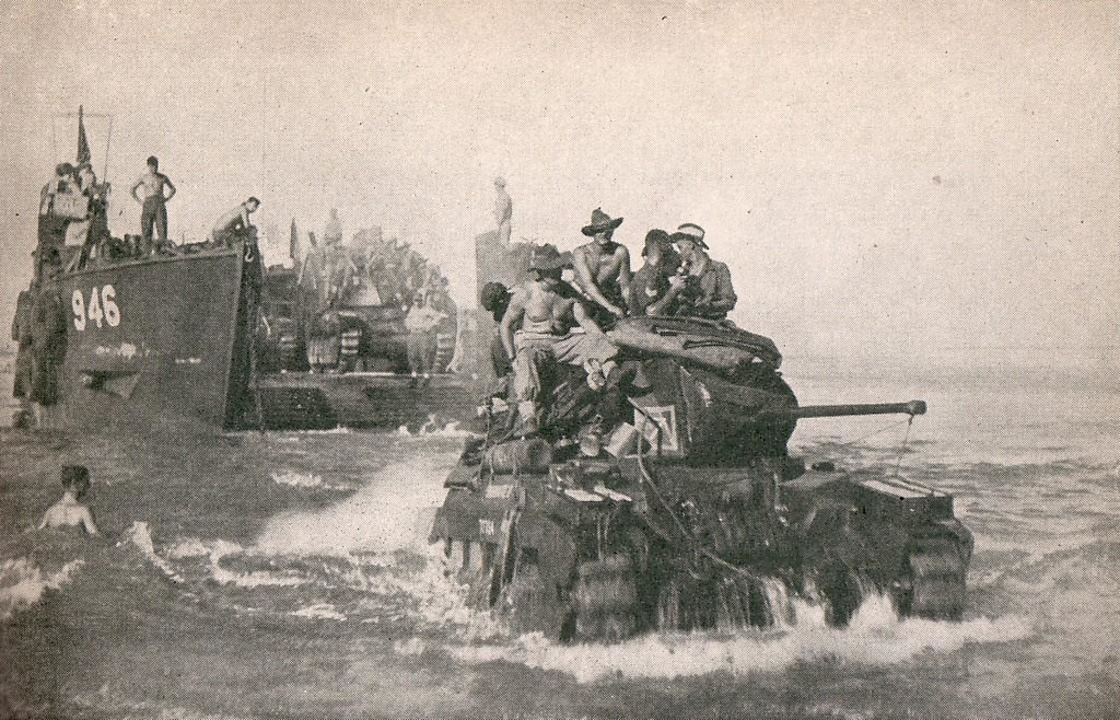 Australian Army landing with Matilda tanks, South Bougainville, 1945 - Army photo.