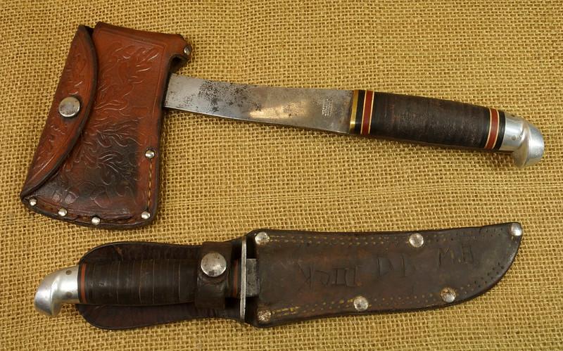 RD14019 Vintage Western Knife & Hatchet Combo Boulder, Colo. DSC05365