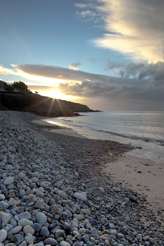 sea swansea clouds sunrise bay sand tide pebbles full langland