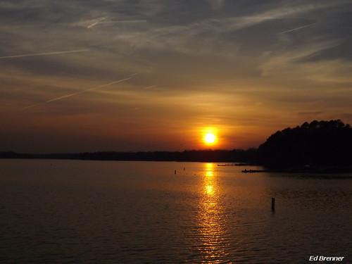 sunset lake water night evening northcarolina rowancounty