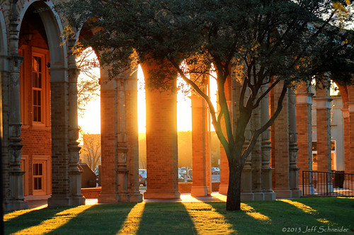 sunset architecture university arches hdr texastech