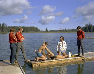 Practicing life-saving skills, Blue Lake, Alberta