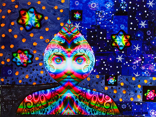 LARRY CARLSON, Lunarwalker, acrylic paint, collage and digital prints on paper, 16x14in., 2013.