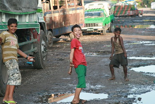 Myanmar, Yangon -  Feb 2013 - One of the two roads our hotel was on, Hotel 63, in the far southeast side of the city.  It was a quite area that happened to have a bunch of trucks parked for the port that was two blocks south of us.  Hotel 63 was a great v
