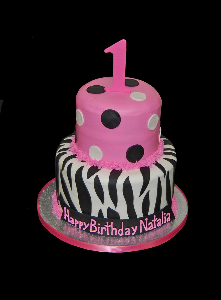 Sensational 1St Birthday Pink And Black Zebra Print Birthday Cake Flickr Funny Birthday Cards Online Overcheapnameinfo