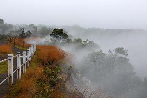 fog fence landscape volcano hawaii smoke