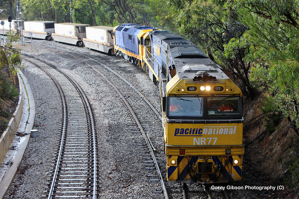 NR77, NR43 & 8122 decend passed Belair Station by Corey Gibson