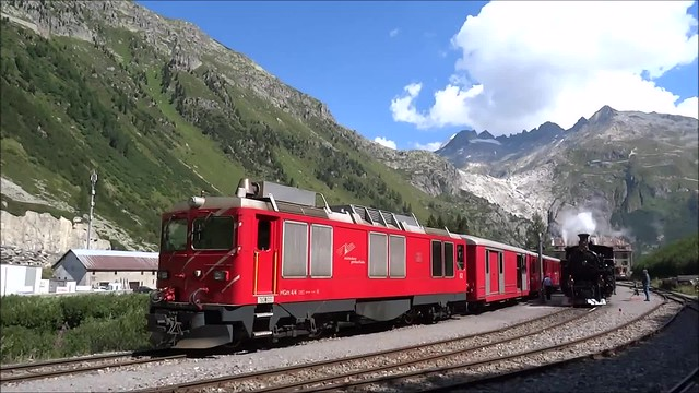 DFB Steamtrain leaving the station of Gletsch.