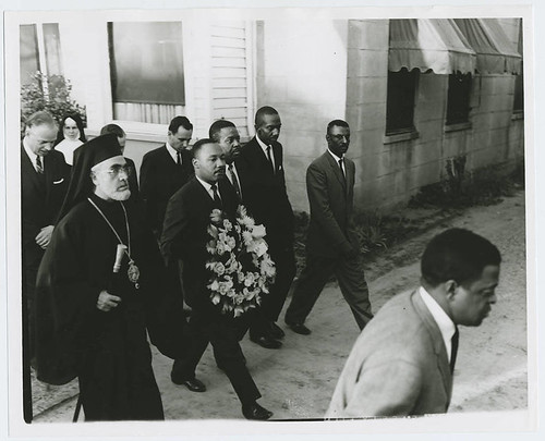 Alabama civil rights movement: Selma to Montgomery march: Iakovos, Archbishop of the Greek Orthodox Archdiocese of North and South America with Martin Luther King, Jr. and Ralph Abernathy (Monday, March 15, 1965)
