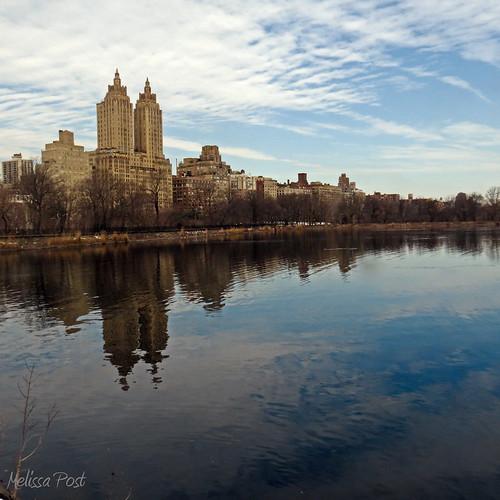 park sky cloud ny water reflections landscape cityscape centralpark manhattan towers reservoir westside