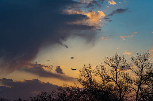 trees southdakota airliner landscape sunset aircraft nature sky outdoors siouxfalls shermanpark evening minnehahacounty clouds sd unitedstates
