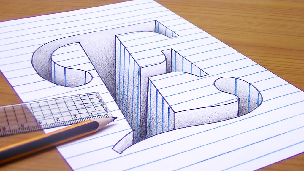 How-to-Draw-3D-Letter-E---3D-Trick-Art | متعة الرسم | Flickr