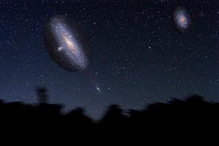 Galaxia de Andromeda y La Galaxia del Triangulo en el mismo paisaje