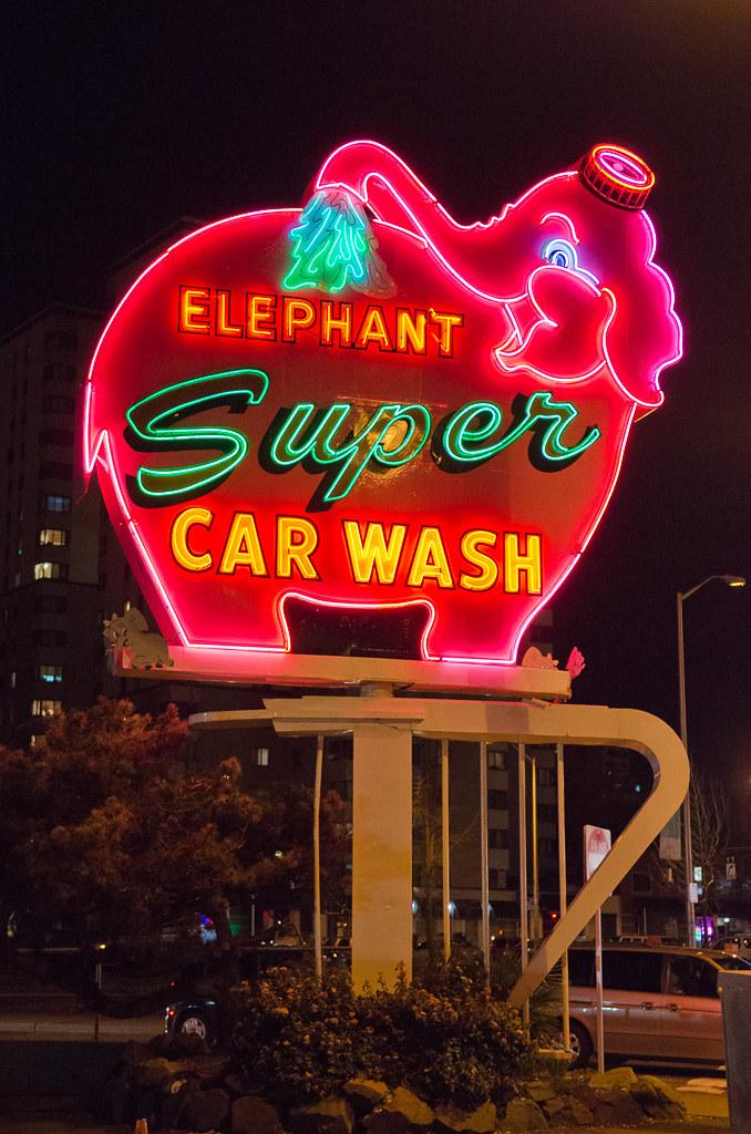 Pink Elephant Car Wash Neon Sign at Night | A Seattle landma