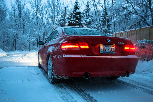 BMW 335i in the snow