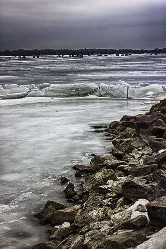 lake ice rock frozen icefishing