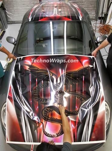 Porsche vinyl car wrap in progress at TechnoSigns Orlando