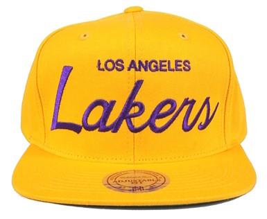 f66e1edcdc1f7c ... larger image Lakers Snapbacks Hats Vintage Mitchell Ness NBA Los  Angeles Cap Solid Script Adjustable Gold
