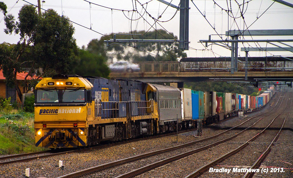 NR38-NR5 with Crew Car on 5MS4 to Sydney at Coolaroo (11/4/2013) by Bradley Matthews