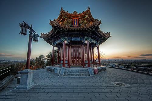 china park sunset pagoda beijing pavilion jingshan