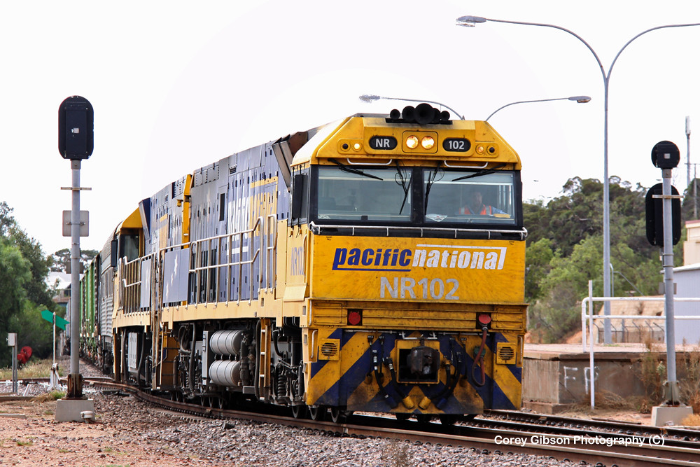 NR102 & NR54 pass through Port Augusta station with the 2PM5 by Corey Gibson