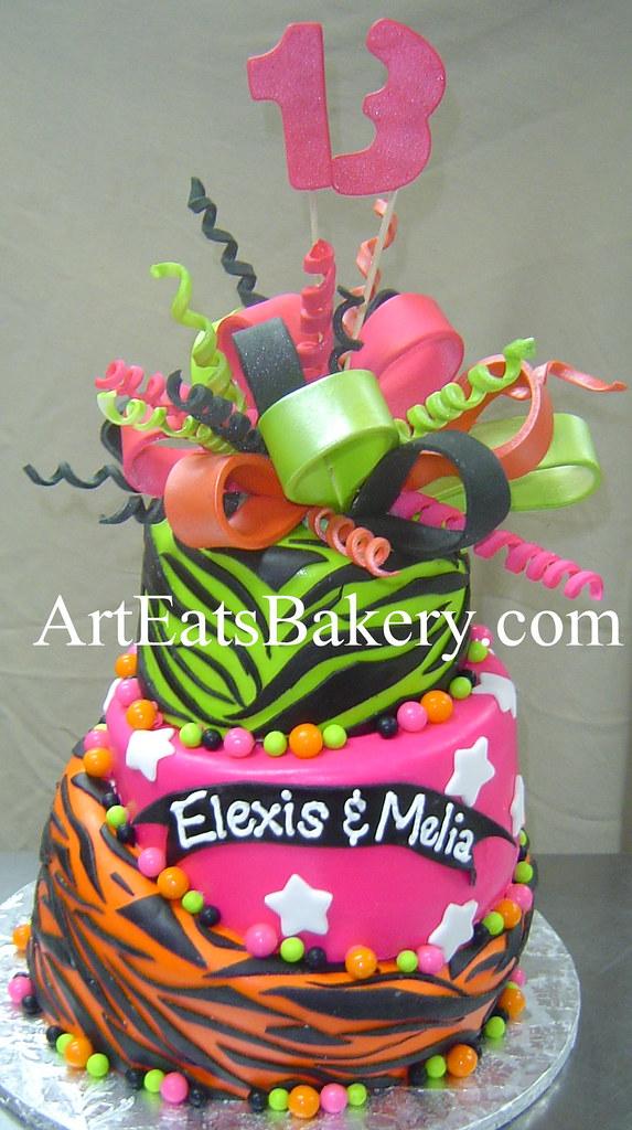 Prime 3 Tier Neon Green Pink Orange And Black Zebra Stripe Gir Flickr Funny Birthday Cards Online Chimdamsfinfo