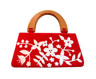 Modern floral handbag in red