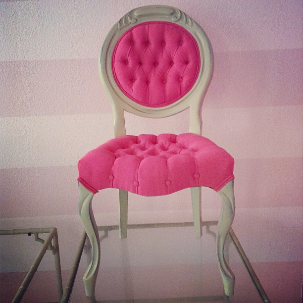 #Custom #reworked #vintage #chair fresh from the #workroom on its way to its new home in #California!  I keep on thinkin' that I'm over #pink & then think again …
