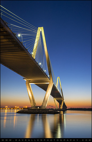 charleston sc arthurraveneljr bridge suspension charlestonsc cooperriver suspensionbridge southcarolina sunset daveallen landscape photography d800 nikon nikond800 mygearandmediamond night evening bluehour architecture river reflections