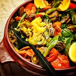 Paella Homemade Contents are saffron rice at a short-necked clam, a tomato, a green pepper, and hotter chorizo. 自家製パエリア 中身はアサリとトマト、ピーマン、辛めのチョリソーにサフランライスです。 #paella #delicious #homemade #gramma #lunch #april #spring #2013 #nagoya #japan