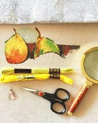 Still Life - Pitcher & Fruit Cross Stitch by my husband DJMasterpiece painted by Cezanne