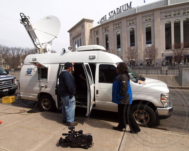 News 12 Westchester Communication Truck, Yankees Opening D