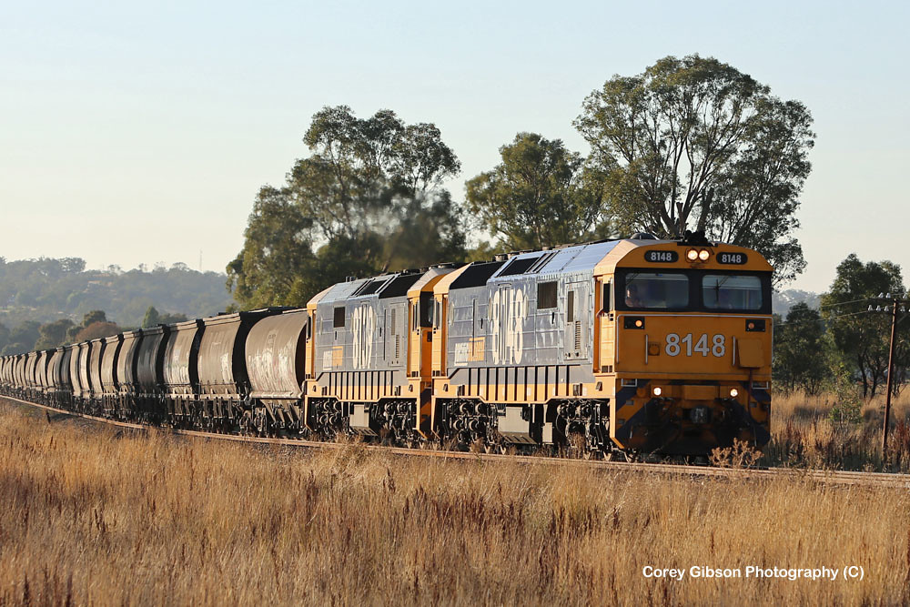 8148 & 8139 head out towards Temora by Corey Gibson